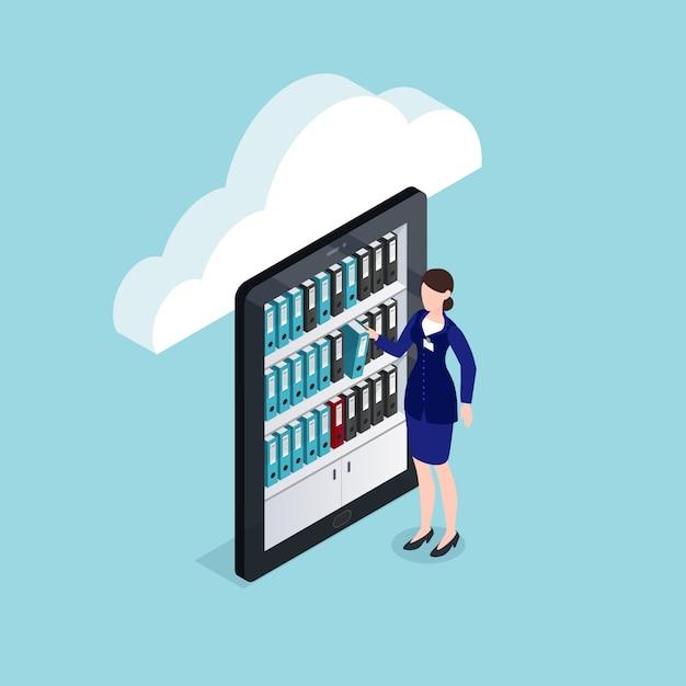 Cloud documents storage isometric design Darmowych Wektorów