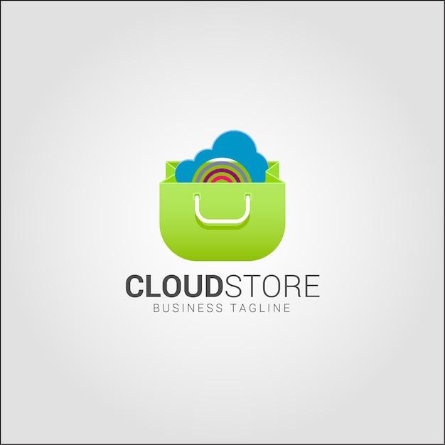 Cloud Store - Szablon Logo Sklepu Internetowego Premium Wektorów