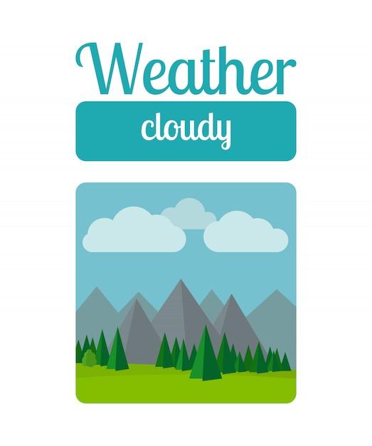 Cloudly pogoda ilustracja Premium Wektorów
