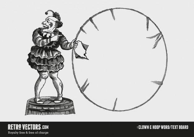 Clown I Hoop Słowo / Tekst Board Darmowych Wektorów