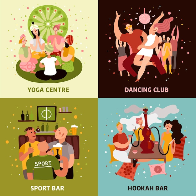 Club Party Koncepcja Ikony Zestaw Z Płaskich Symboli Paska Sportowego Darmowych Wektorów