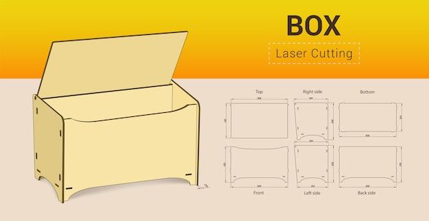 Cnc. Laserowe Pudełko Do Cięcia. Bez Kleju. Ilustracja. Premium Wektorów