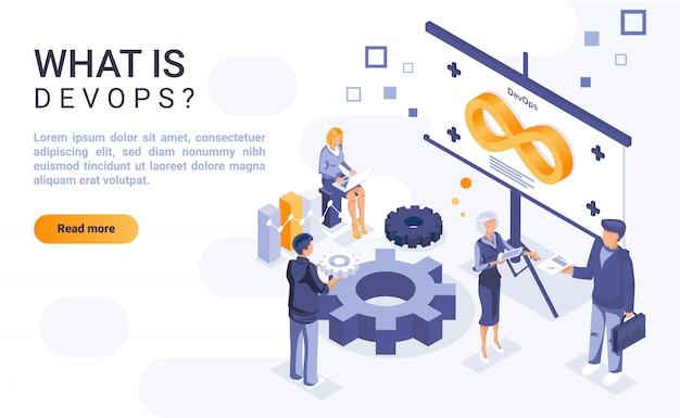 Co To Jest Strona Docelowa Devops Z Izometryczną Ilustracją Premium Wektorów