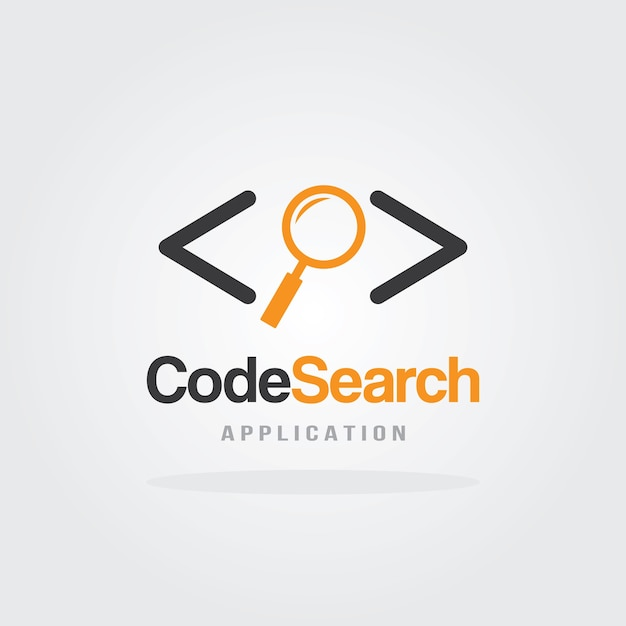 Code search koncepcja projektu logo z ikoną lupy Premium Wektorów