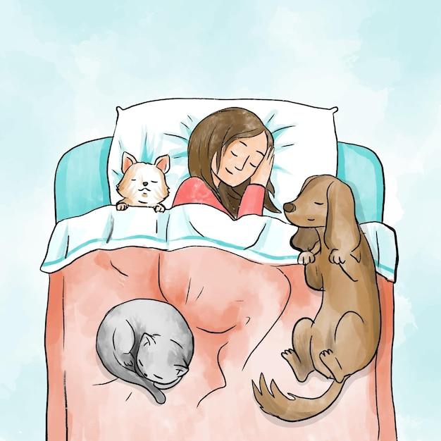 Codzienne Sceny Ze Zwierzętami I Właścicielem Darmowych Wektorów