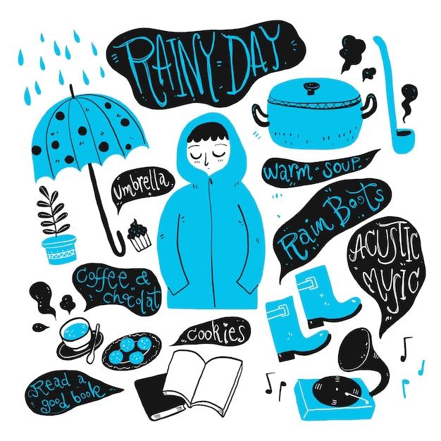 Codzienne użytkowanie w deszczowy dzień. kolekcja ręcznie rysowane, ilustracji wektorowych w stylu doodle szkic. Premium Wektorów
