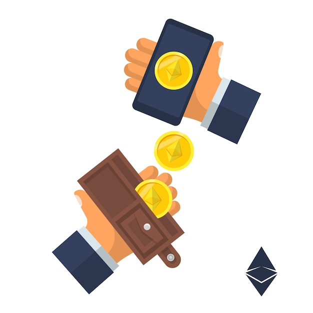 Coin Ethereum. Pieniądze Elektroniczne Spadają Z Portfela W Dłoni. Projekt. Na Białym Tle. Technologia Kryptowalut, Wymiana Bitcoinów, Wydobywanie Bitcoinów. Premium Wektorów