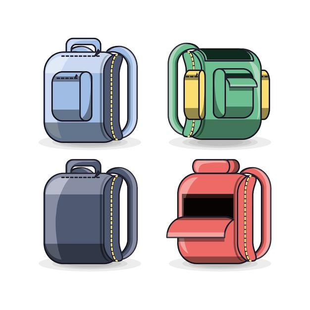 Colorfull Szkolny Plecak Edukaci Pojęcie Premium Wektorów