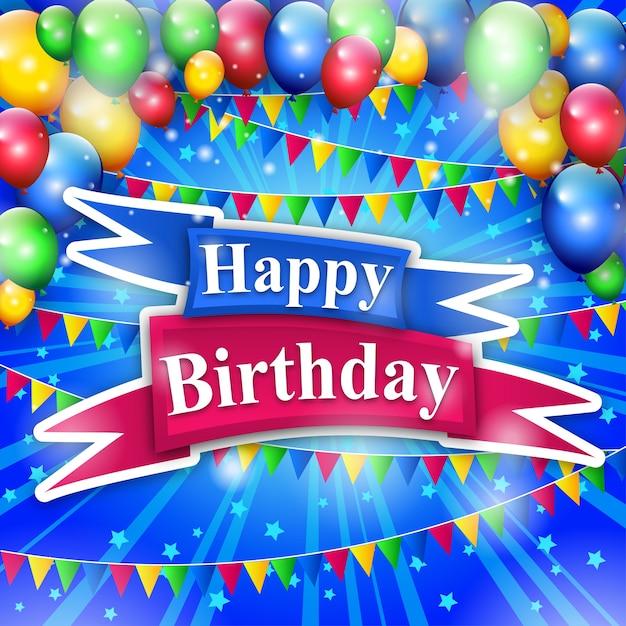 Colorfull Wszystkiego Najlepszego Z Okazji Urodzin Z Tłem Ballons Premium Wektorów