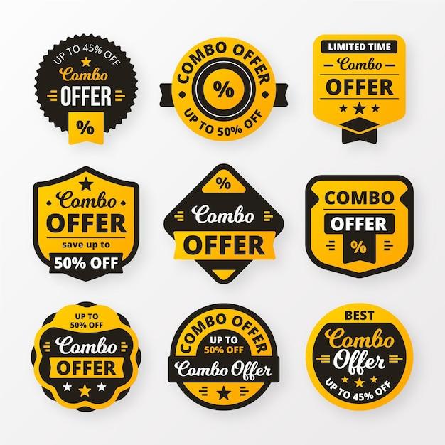 Combo Oferuje Kolekcję Etykiet Premium Wektorów