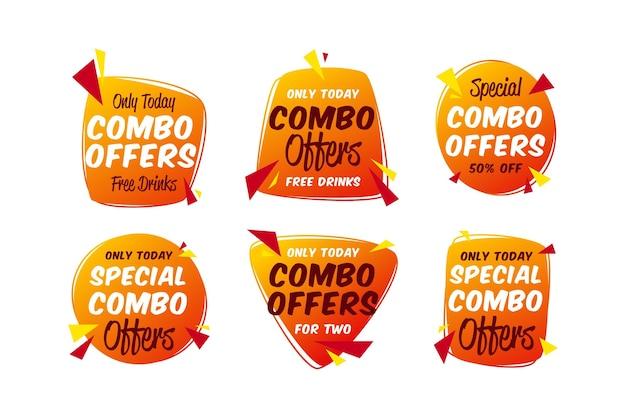 Combo Oferuje Kolekcję Szablonów Etykiet Premium Wektorów