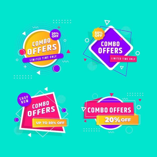 Combo Oferuje Zestaw Etykiet Premium Wektorów