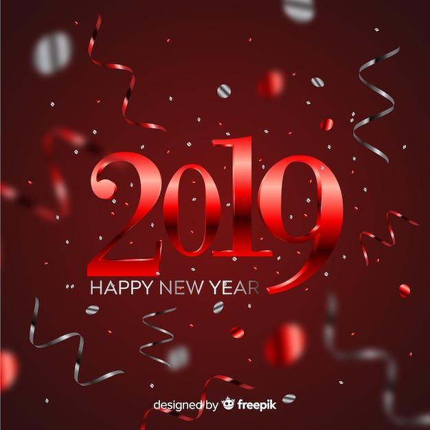 Confetti Nowego Roku 2019 Tło Darmowych Wektorów