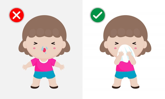 Coronavirus 2019-ncov Lub Covid-19 Koncepcja Zapobiegania Chorobom, Kichanie Kobiety Przed Tkanką Jamy Ustnej I Nosa Chusteczką. Zdrowy Sposób Na Ochronę Przed Infekcjami Wirusowymi. Pojęcie Opieki Zdrowotnej Premium Wektorów