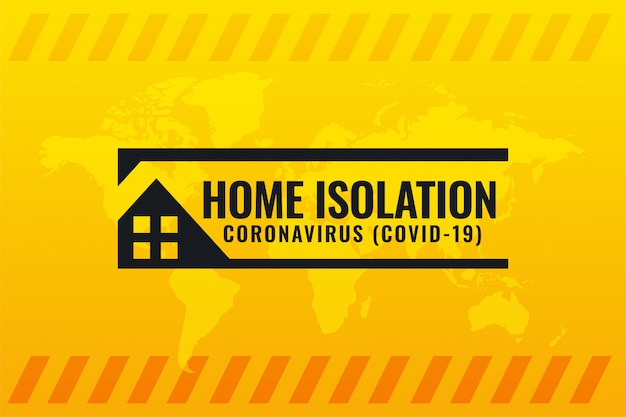 Coronavirus Covid-19 Symbol Izolacji Domu Na żółtym Tle Darmowych Wektorów