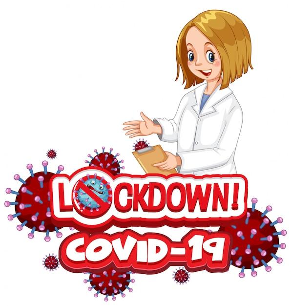 Coronavirus Plakat Projekt Z Blokadą Programu Word Na Białym Tle Darmowych Wektorów