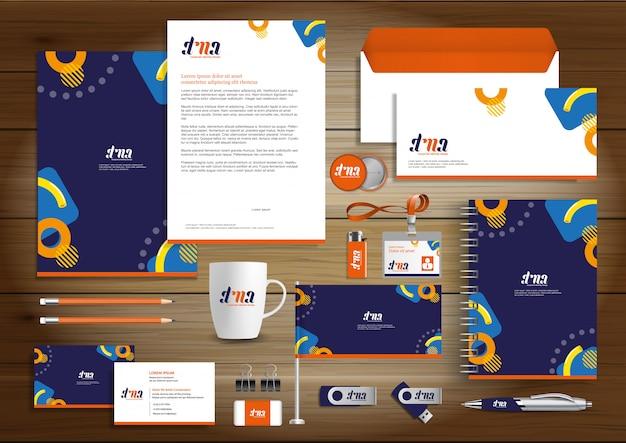 Corporate business identity design wektor papeterii Premium Wektorów