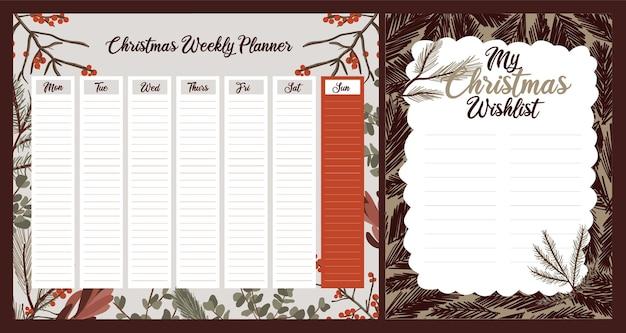 Cotygodniowy Dzienny Planer świąteczny Uroczy Tematyczny Skandynawski Styl Premium Wektorów