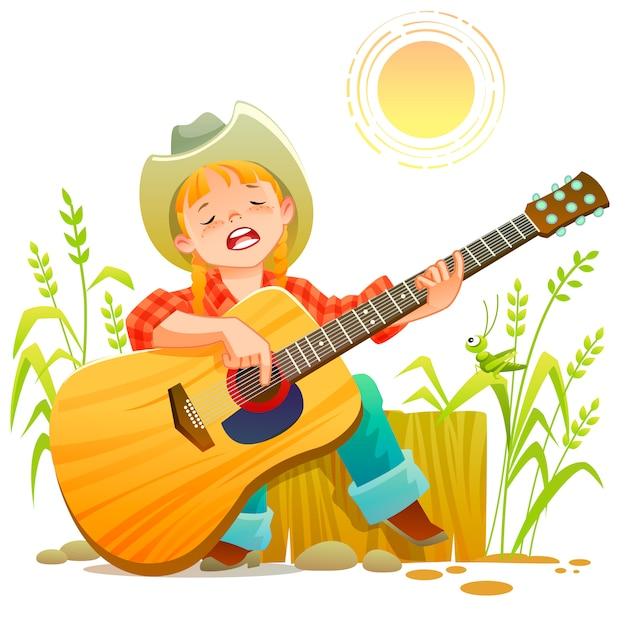 Country teen girl gra na gitarze i śpiewa Premium Wektorów