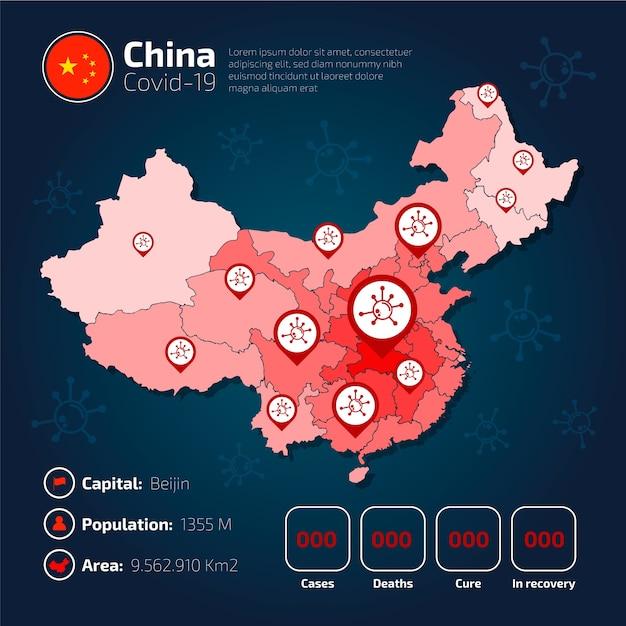 Covid-19 Chiny Mapa Kraju Plansza Darmowych Wektorów