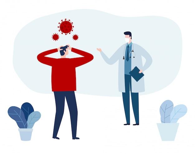 Covid-19, Doktor Konsultacje I Diagnoza Wirusa Epidemii Wuhan Koronawirus 2019-ncov Pandemia Medyczne Ryzyko Zdrowotne Koncepcje Ilustracja Mieszkanie. Premium Wektorów