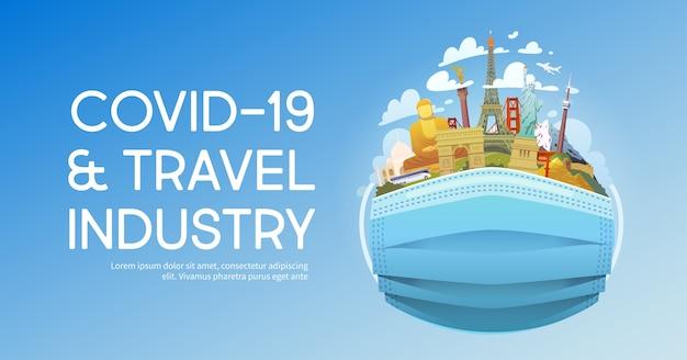 Covid-19 I Ilustracja Branży Turystycznej Premium Wektorów