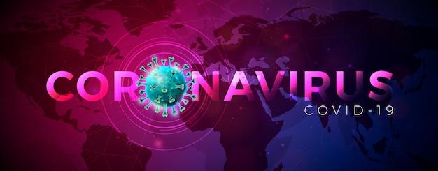Covid-19. Projekt Epidemii Koronawirusa Z Komórką Wirusa W Mikroskopijnym Widoku Na Tle Mapy świata Niebieski Streszczenie Darmowych Wektorów