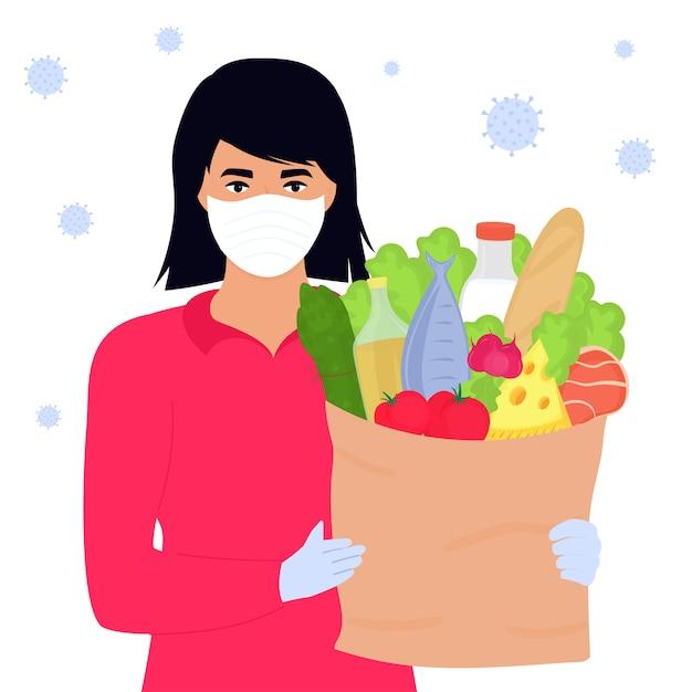 Covid19. Koronawirus Epidemia. Wolontariuszka Trzyma Paczkę Z Jedzeniem. Dostawa. Premium Wektorów