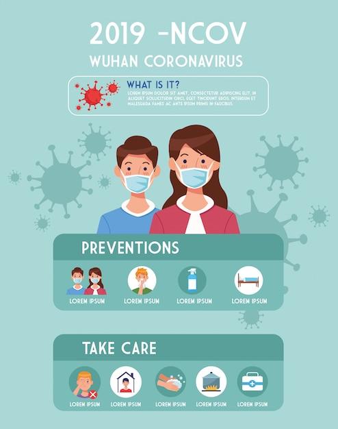 Covid19 Pandemiczna Ulotka Z Parą Używa Twarzy Masek Infographics Ilustracyjnego Projekt Premium Wektorów