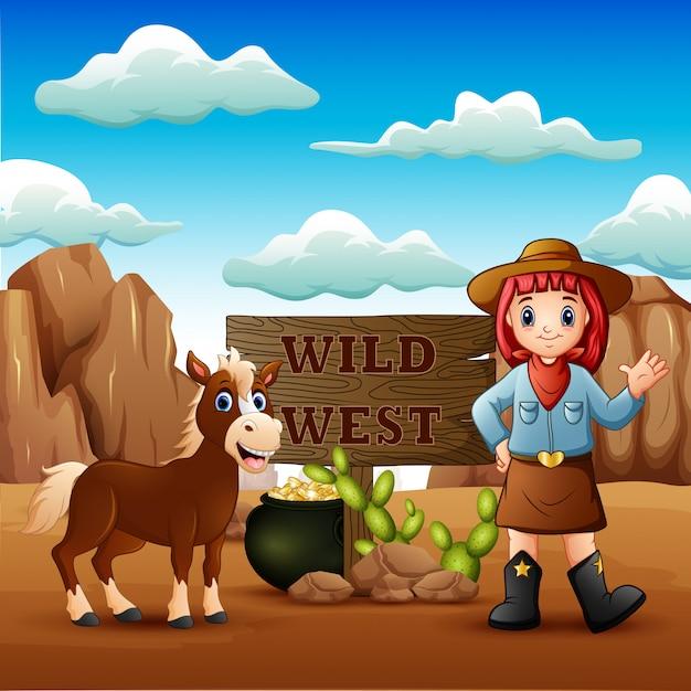 Cowgirl Dziki Zachód Krajobraz Z Koniem Premium Wektorów