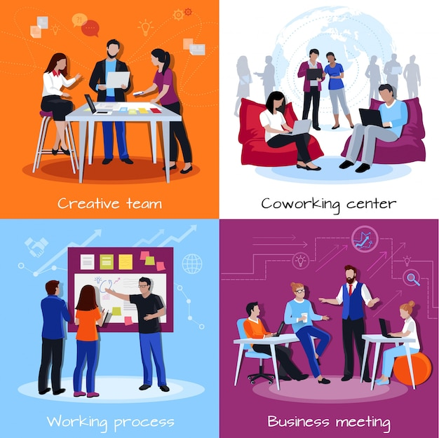 Coworking people design concept Darmowych Wektorów