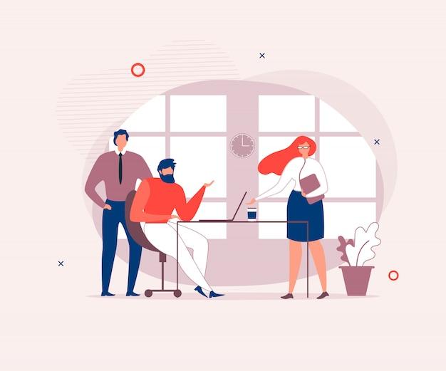 Coworking people with conversation in office Premium Wektorów