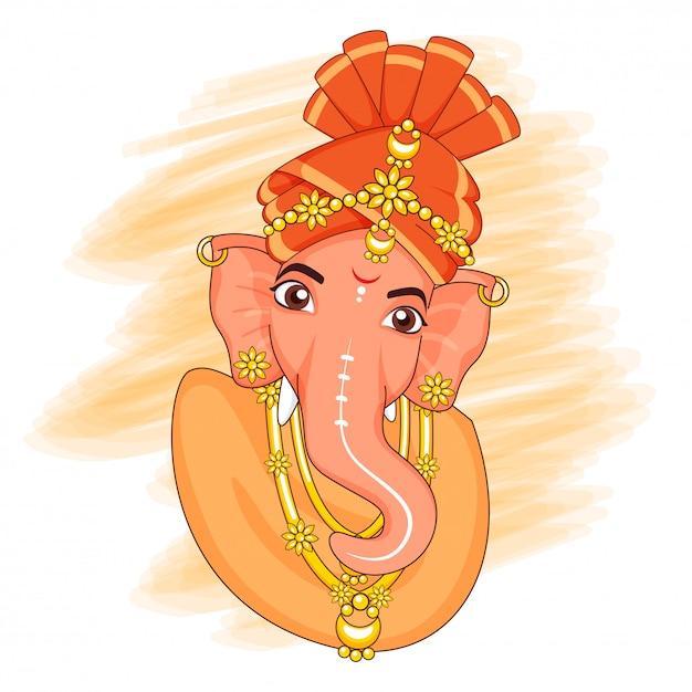 Creative Lord Ganesha Idol Z Efektem Pociągnięcia Pomarańczowego Pędzla Na Białym Tle. Premium Wektorów