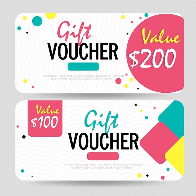 Creative szablon kuponu rabatowego, karty upominkowej lub kuponu. Premium Wektorów