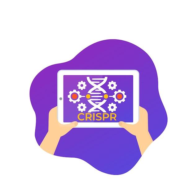 Crispr, Ikona Edycji Genomu Za Pomocą Tabletu Premium Wektorów
