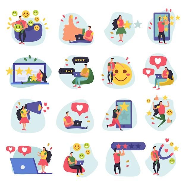 Crm Zarządzanie Relacjami Z Klientami Płaskie Ikony Zbiór Szesnastu Doodle Obrazów Z Ludzkimi Postaciami I Symbolami Darmowych Wektorów