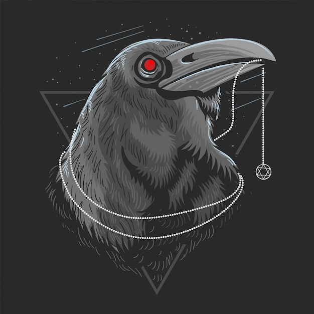 Crow bird raven artwork vector Premium Wektorów