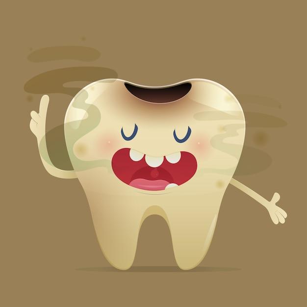 Cuchnący Ilustracja Z Kreskówka Zębem Z Nieświeżym Oddechem Premium Wektorów