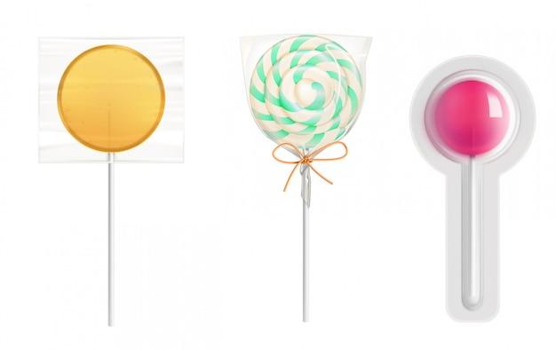 Cukierki Lollipop W Przezroczystym Plastikowym Opakowaniu Darmowych Wektorów