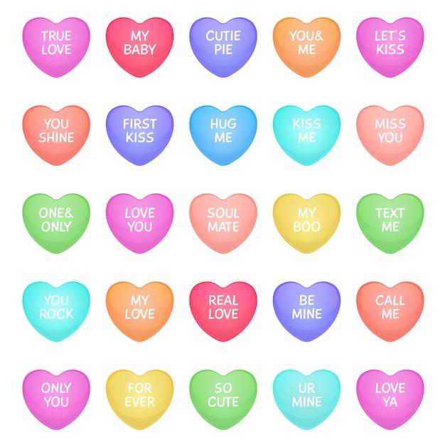 Cukierki W Kształcie Serca. śliczne Walentynkowe Kształty Serca Cukierków Z Napisami Miłosnymi, Słodycze Z Wiadomościami Miłosnymi Do Komunikacji Romantycznej. Ikony Premium Wektorów