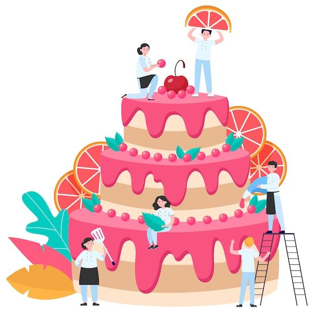 Cukiernicy Dekorujący Duży Tort Weselny Lub Urodzinowy Darmowych Wektorów