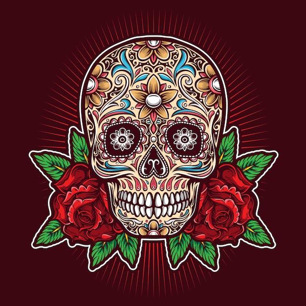 Cukrowa Czaszka Z Logo Róż Premium Wektorów