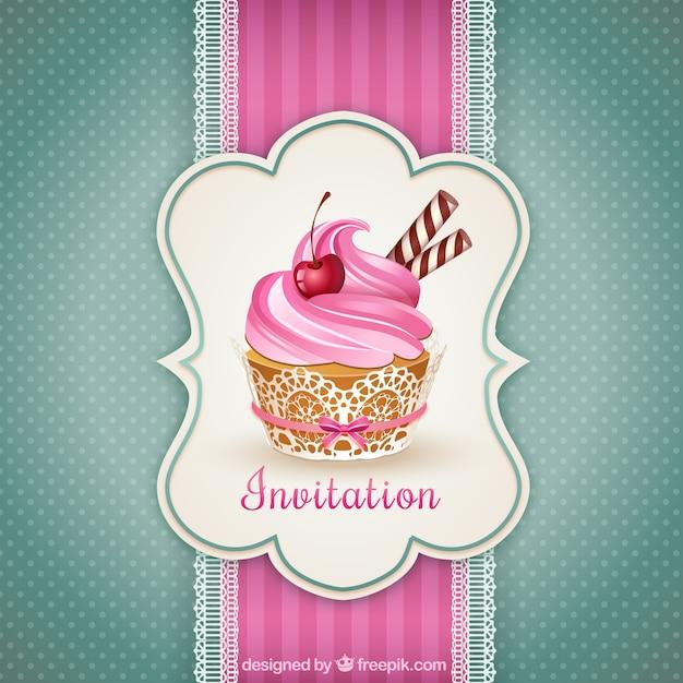 Cupcake zaproszenie Darmowych Wektorów