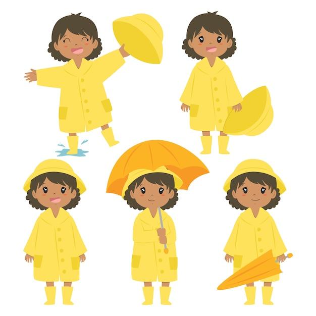 Cute African American Girl W żółty Płaszcz Wektor Zestaw Premium Wektorów