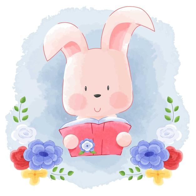 Cute Animal Bunny Rabbit Reading Book Z Kwiat Ramą Akwareli Tle. Premium Wektorów