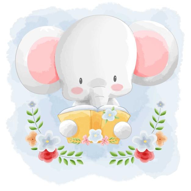 Cute Animal Elephant Reading Book Z Kwiat Ramą Akwareli Tle. Premium Wektorów