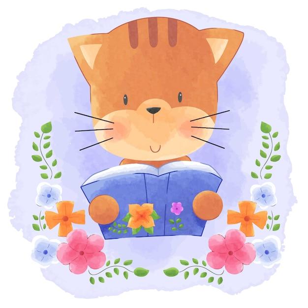 Cute Animal Kitty Cat Czytanie Książki Z Kwiatem Ramki Akwarela Tło. Premium Wektorów
