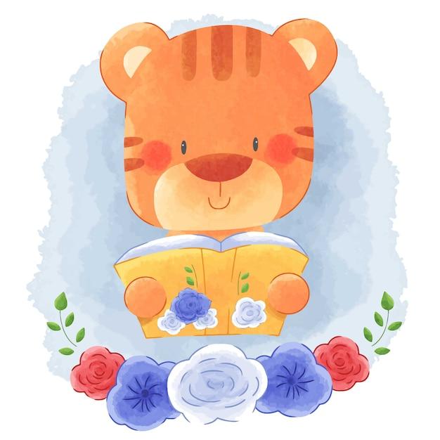 Cute Animal Tiger Czytanie Książki Z Kwiatem Ramki Akwarela Tło. Premium Wektorów