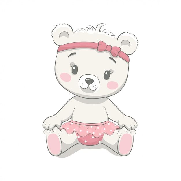 Cute Baby Bear Cartoon Premium Wektorów