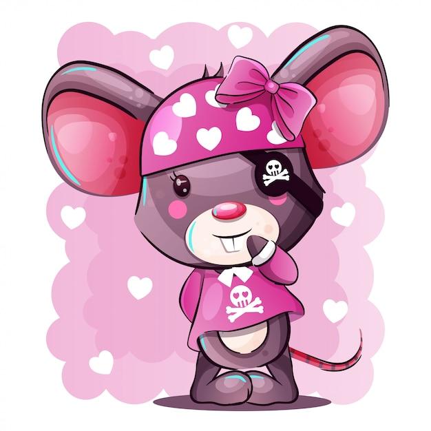Cute baby cartoon mouse w stroju pirata Premium Wektorów